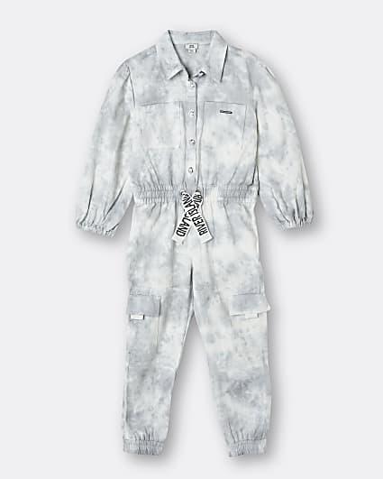 Girls grey RI denim tie dye jumpsuit