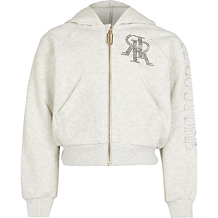 Girls grey RI diamante zip through hoodie