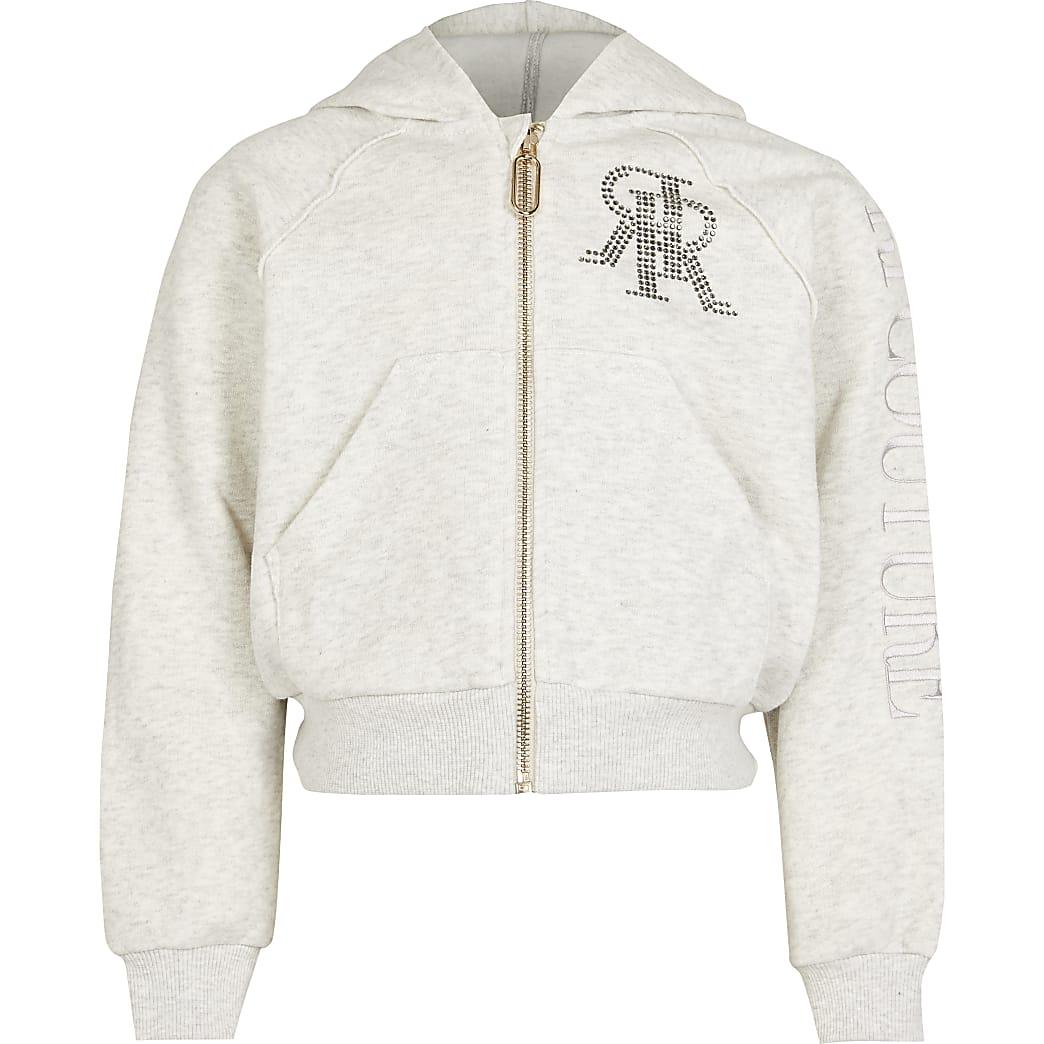 Girls grey RI diamante zip through hoodie