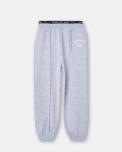 Girls grey RI embroidered seam joggers