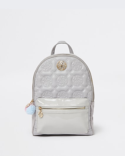 Girls grey RI faux leather backpack