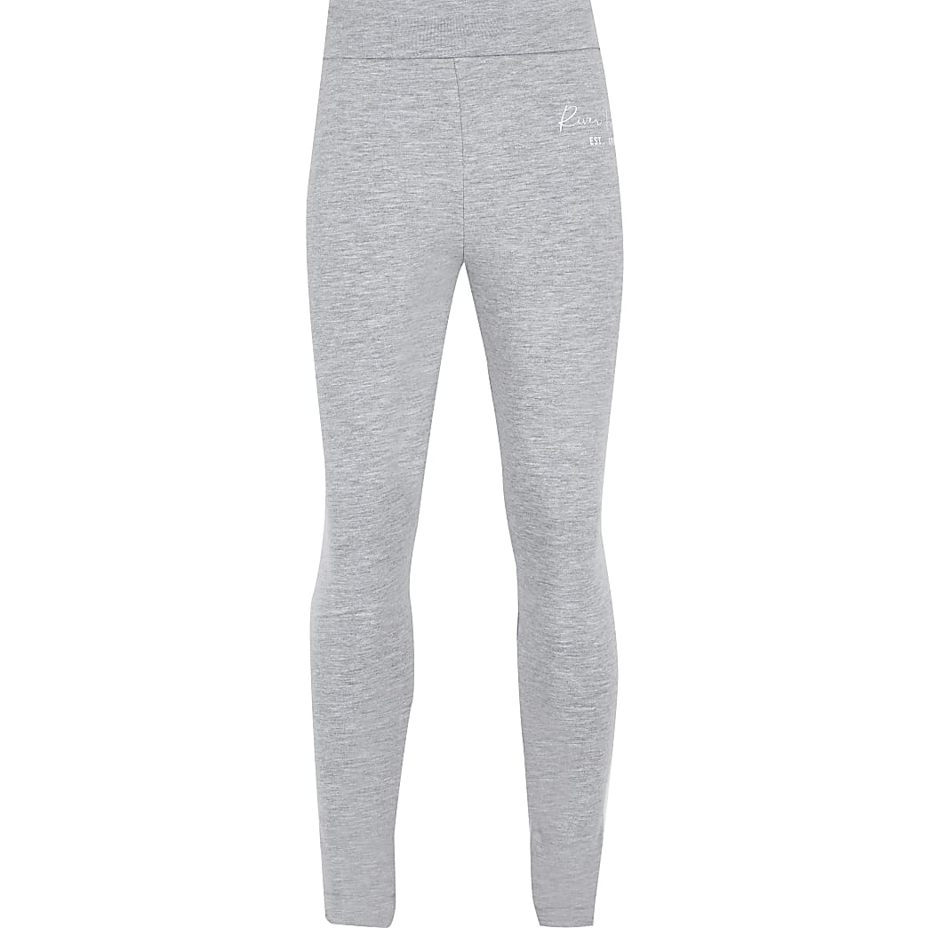 Girls grey RI fold over leggings