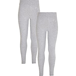 Girls grey RI fold over waist 2 pack leggings