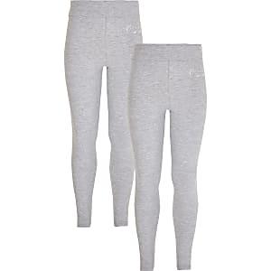 Lot de2 leggings RI avec ceintureà revers gris pour fille