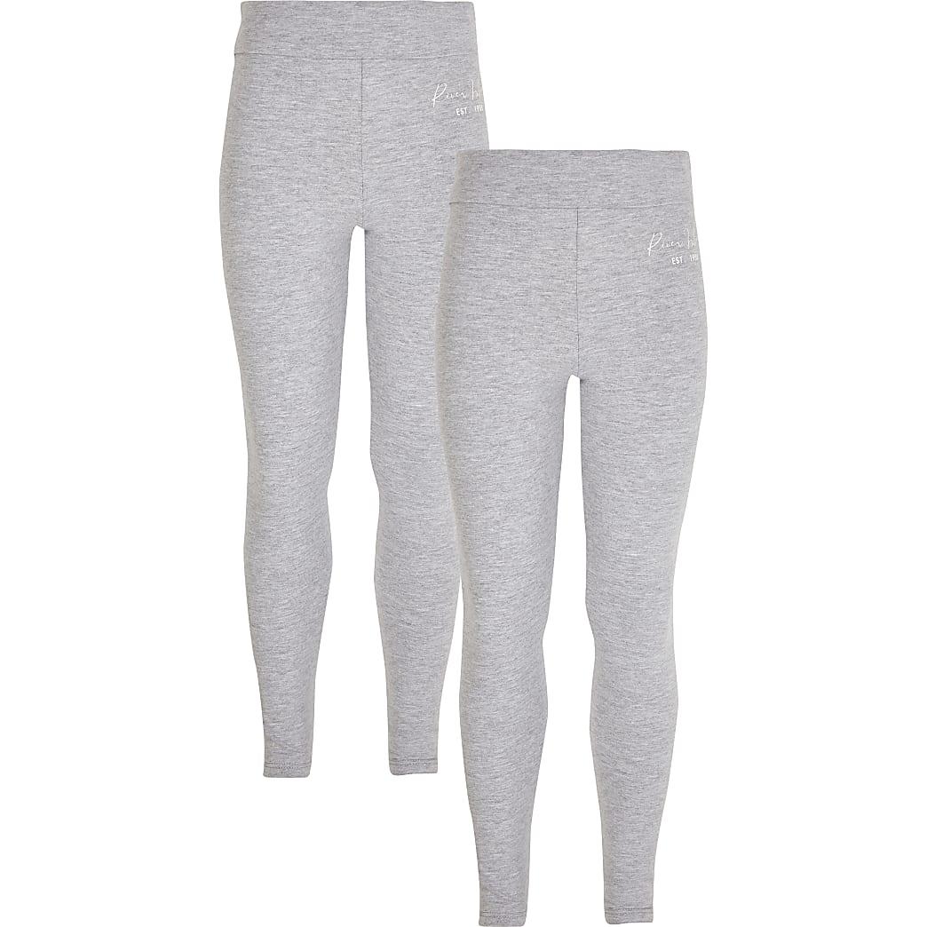 Girls grey RI fold over waist 2 pack leggings