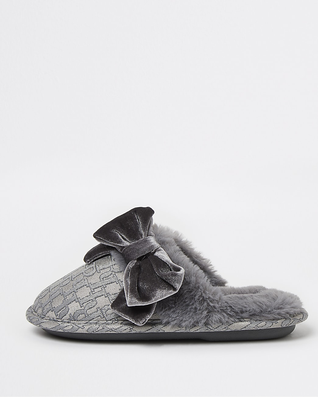 Girls grey RI jacquard bow slippers