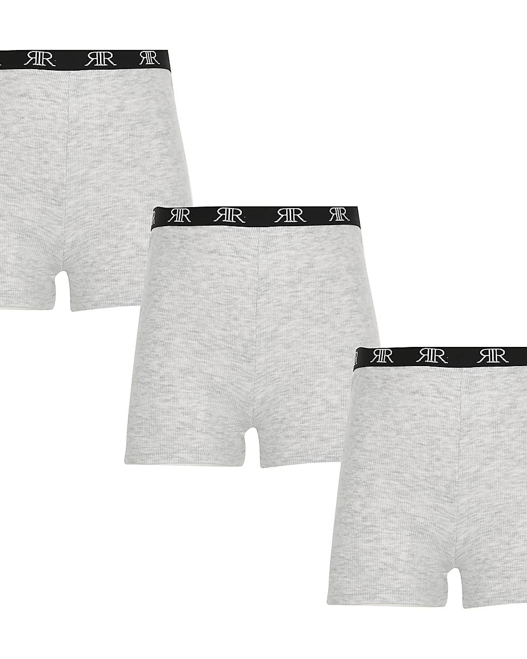 Girls grey RI modesty shorts 3 pack