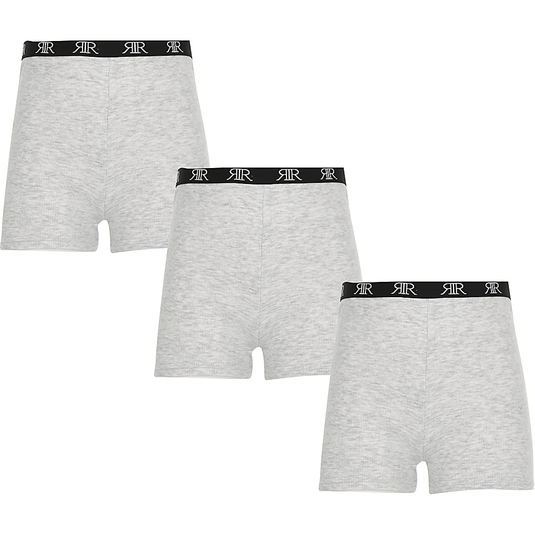 Girls grey RI modesty shorts 3 pack