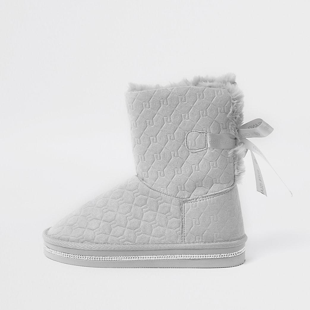 Girls grey RI monogram faux fur boots