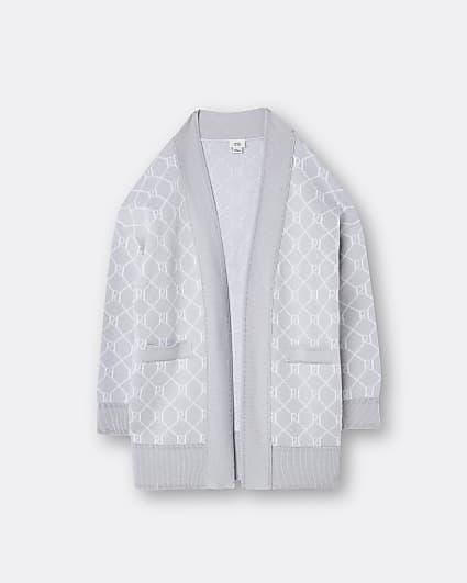 Girls grey RI monogram midi cardigan