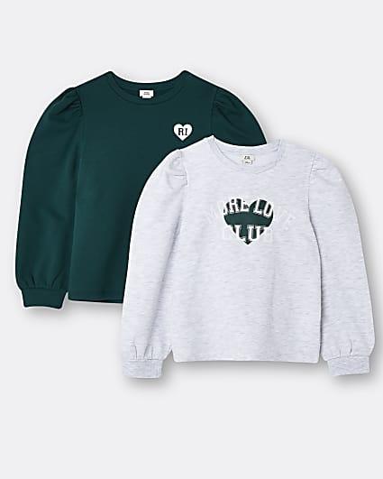 Girls grey RI 'More Love' sweatshirts 2 pack