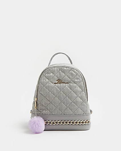 Girls grey RI quilted jacquard backpack