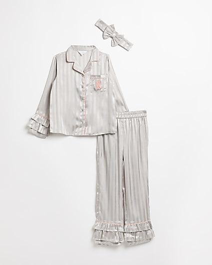 Girls grey RI stripe ruffle pyjama set