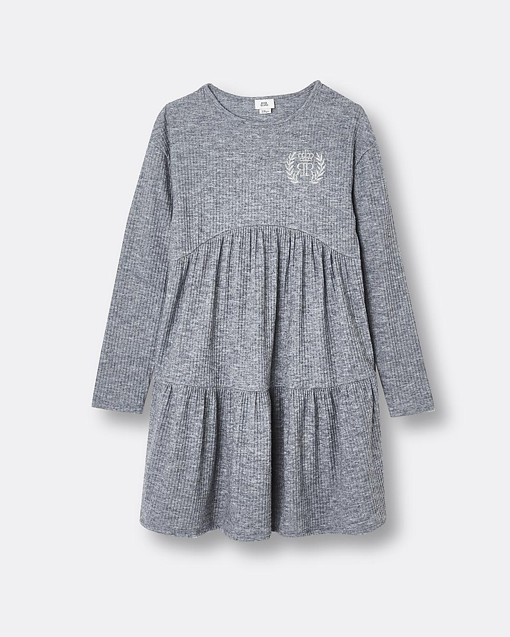 Girls grey RI tiered hem long sleeve dress