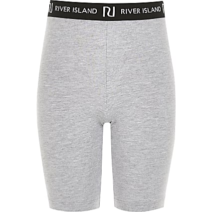 Girls grey RI waistband cycling shorts