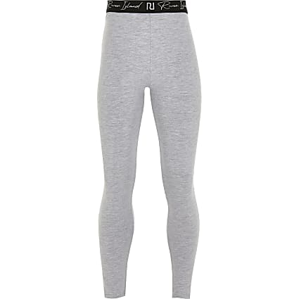 Girls grey RI waistband leggings