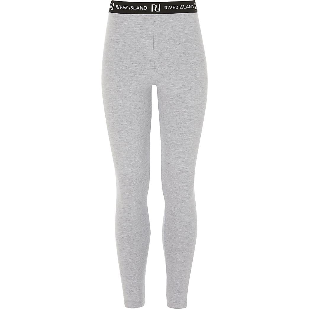 Girls grey RI waistband leggings