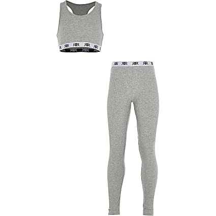 Girls grey rib crop loungewear set