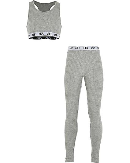 Girls grey rib crop loungewear set