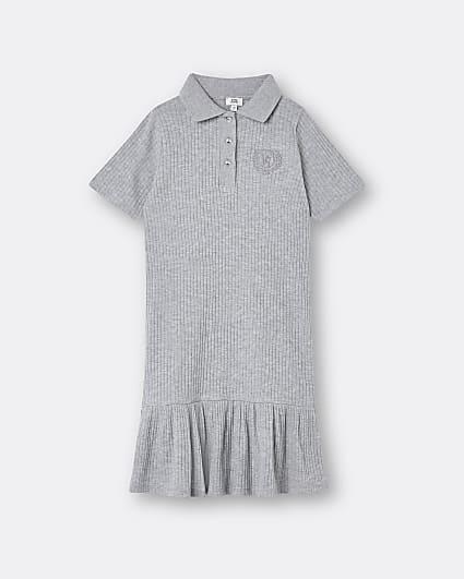 Girls grey rib polo peplum dress