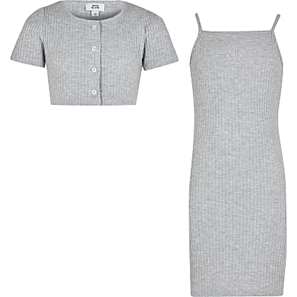 Girls grey ribbed dress and cardigan set