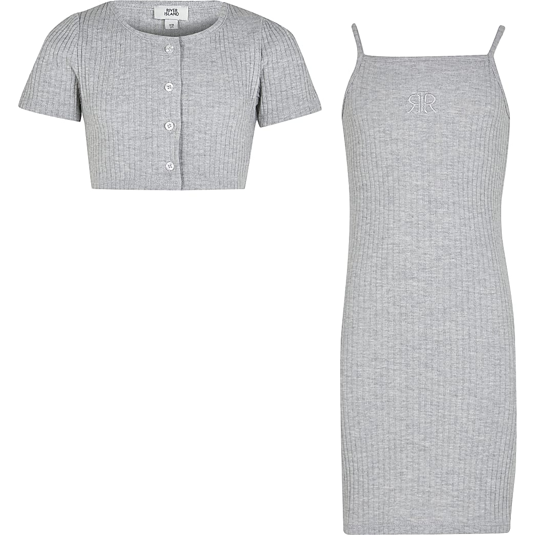 Girls grey ribbed dress and cardigan set
