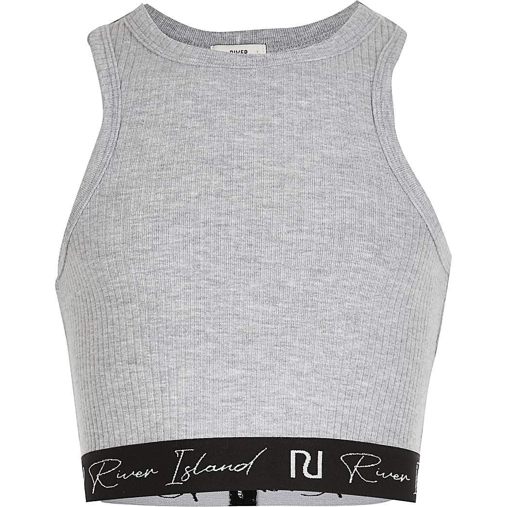 Girls grey ribbed elasticated trim crop top