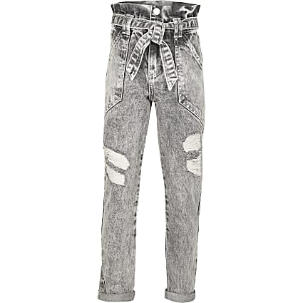 Girls grey ripped paperbag jeans