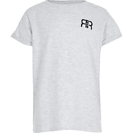 Girls grey RR embossed boyfriend t-shirt