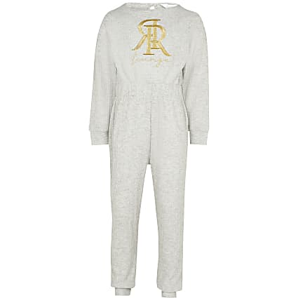 Girls grey RR embroidered waffle onesie