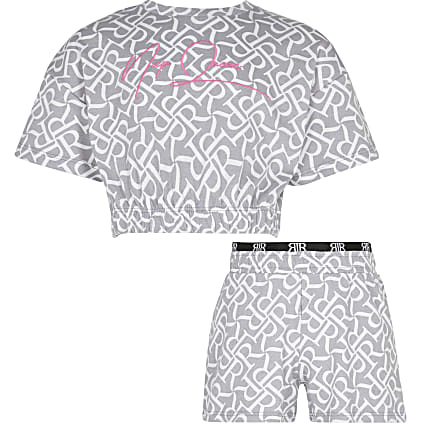 Girls grey RR 'Nap Queen' pyjama shorts set