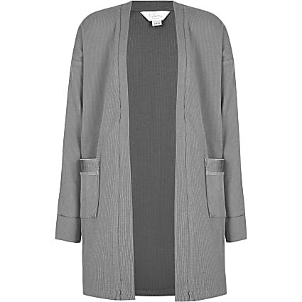 Girls grey RR ribbed longline lounge cardigan