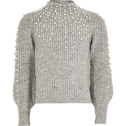Girls grey scattered pearl jumper