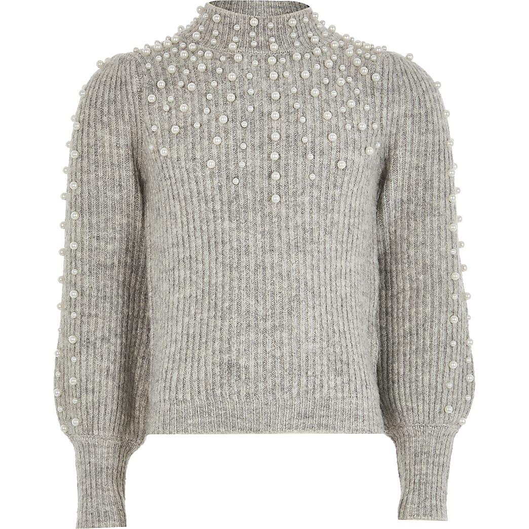 Girls grey scattered pearl jumper