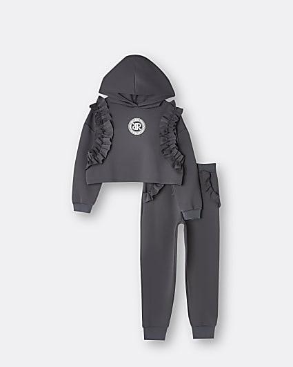 Girls grey scuba hoodie 2 piece set