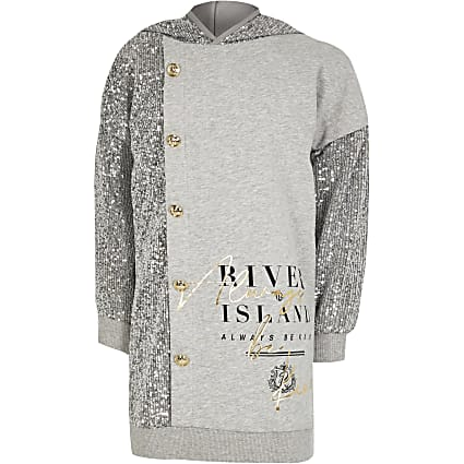 Girls grey sequin button front sweat dress