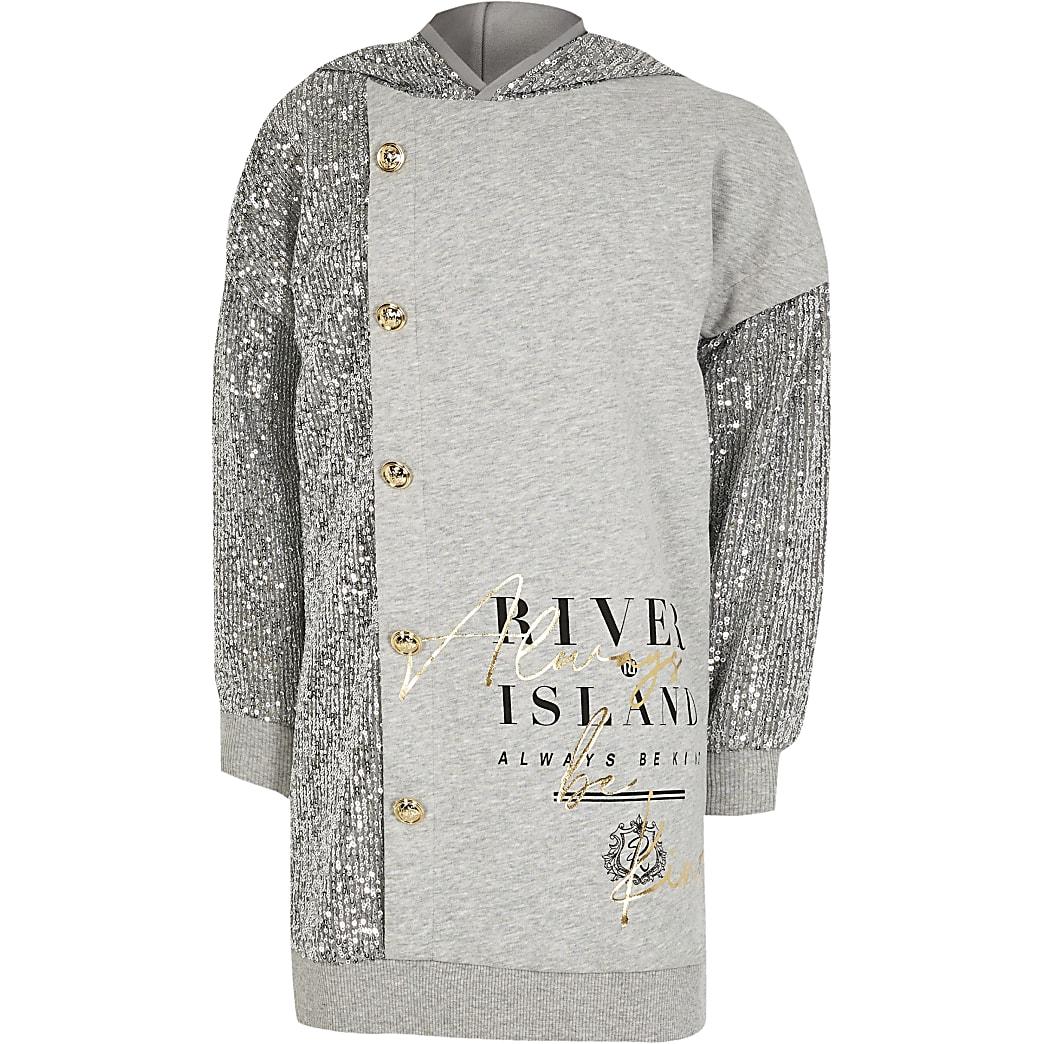 Girls grey sequin button front sweat dress