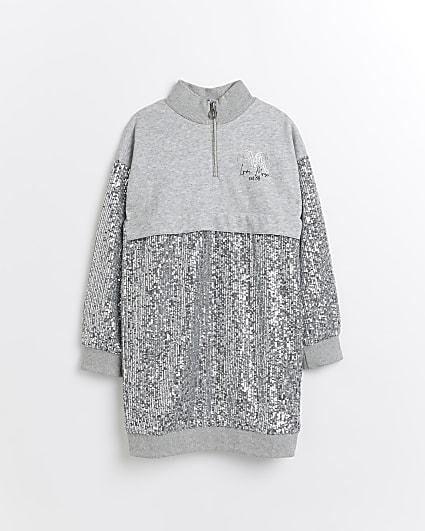 Girls grey sequin funnel neck sweater dress