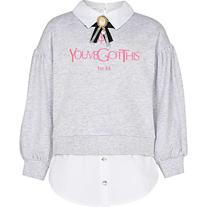 Girls grey shirt hem sweatshirt
