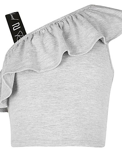 Girls grey shoulder crop top
