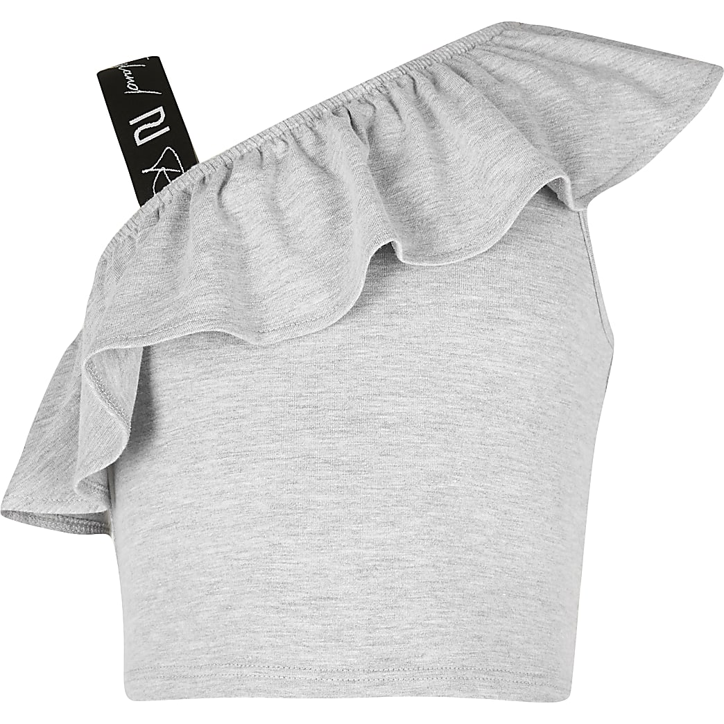 Girls grey shoulder crop top