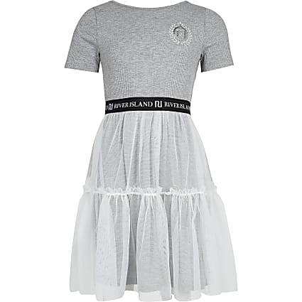 Girls grey skater tulle dress