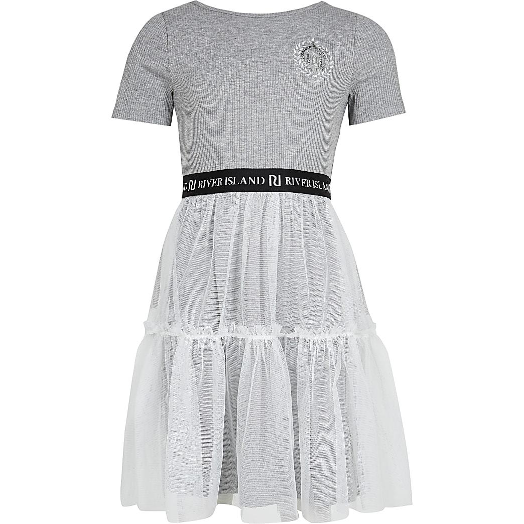 Girls grey skater tulle dress