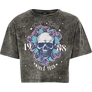 Grijs verfraaid T-shirt met doodshoofdprint en siersteentjes voor meisjes