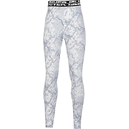 Girls grey snake foil print Active leggings