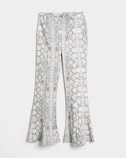 Girls grey snake print flared trousers