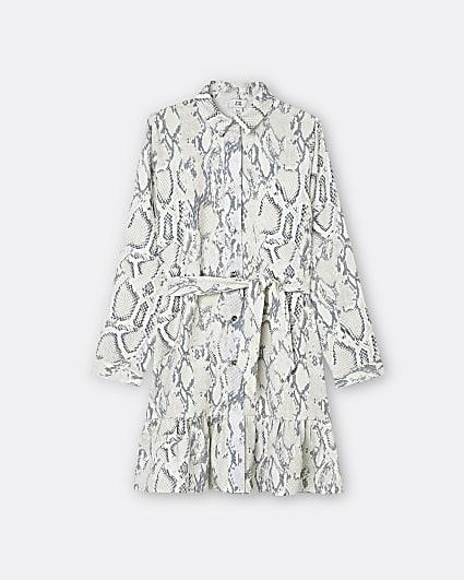 Girls grey snake print shirt dress