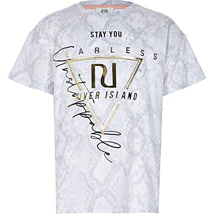 Girls grey snake print t-shirt