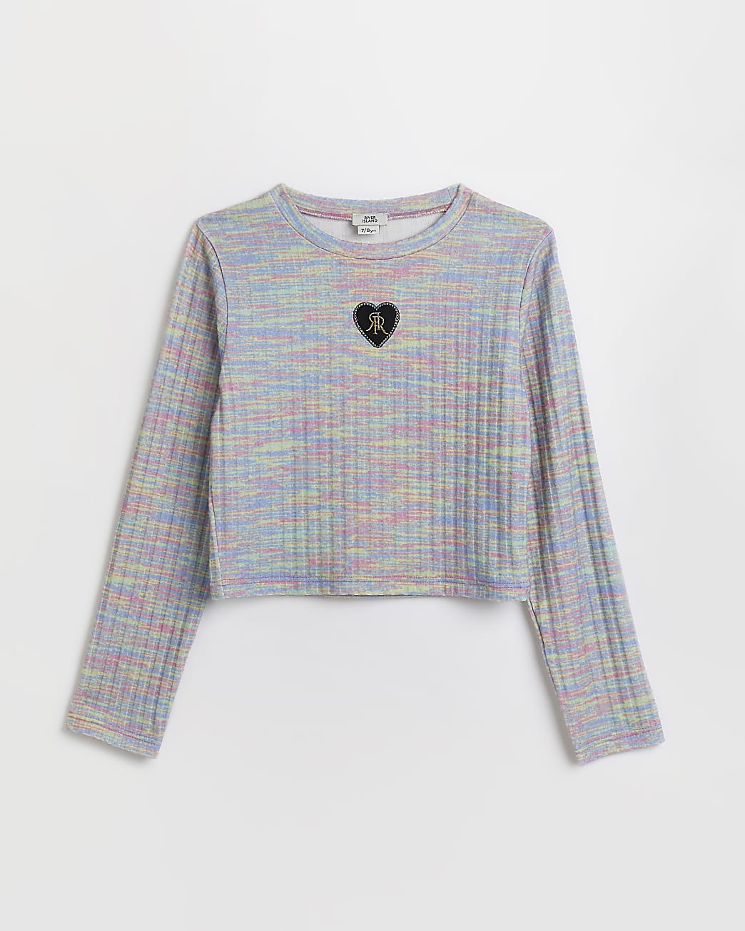 Girls grey space dye ribbed long sleeve top
