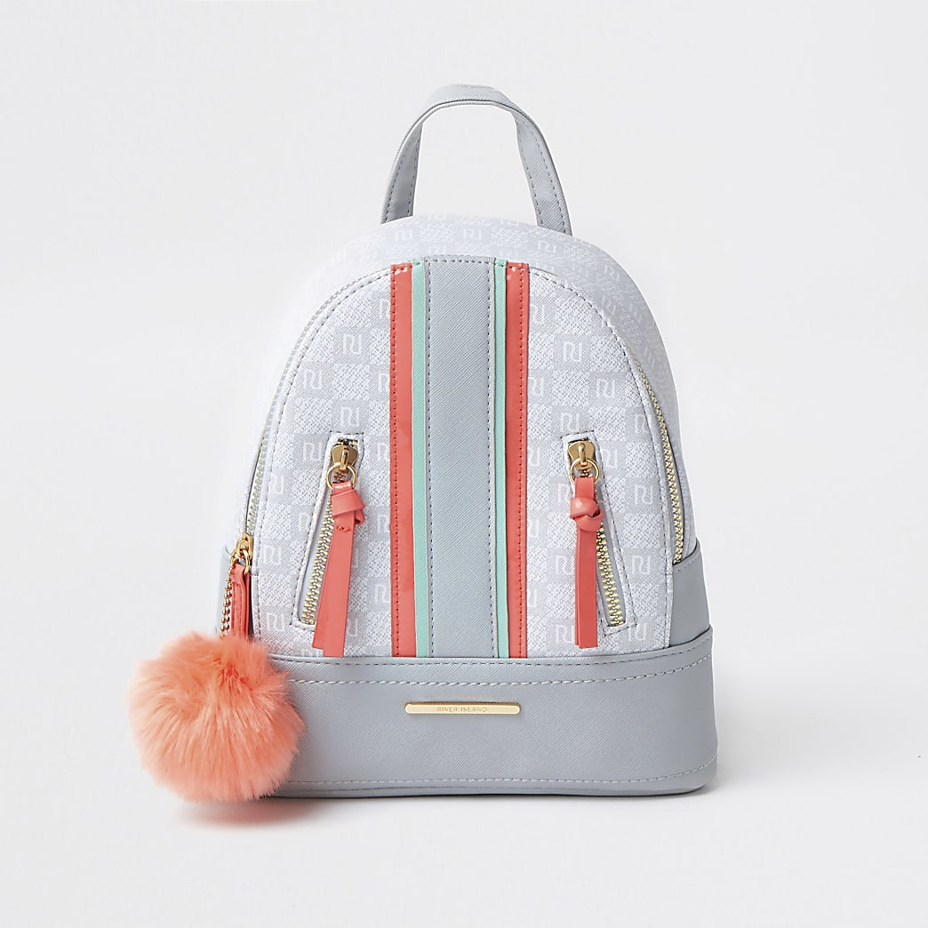 Girls grey spliced pom backpack